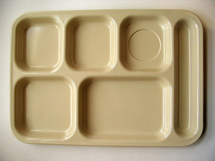 tan lunch tray